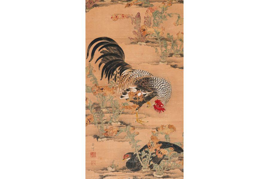 伊藤若冲「蕪に双鶏図」