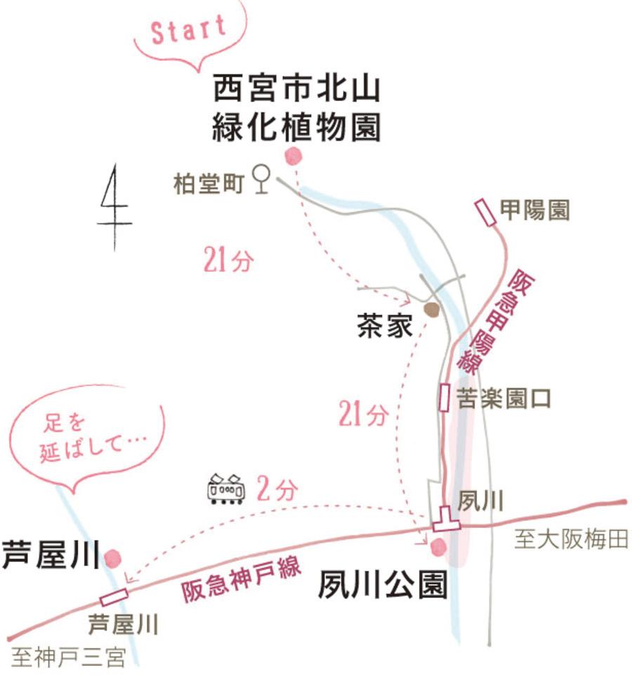 夙川エリアの地図