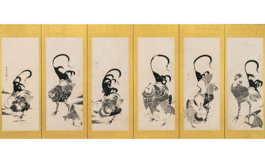 伊藤若冲「群鶏図押絵貼屏風」左隻