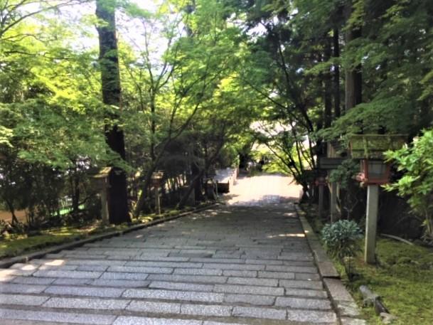 法輪寺の本殿まで続く長い石段
