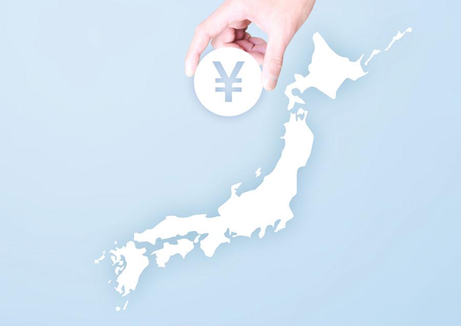 日本列島と円マーク