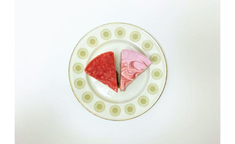 チーズケーキのカット2種