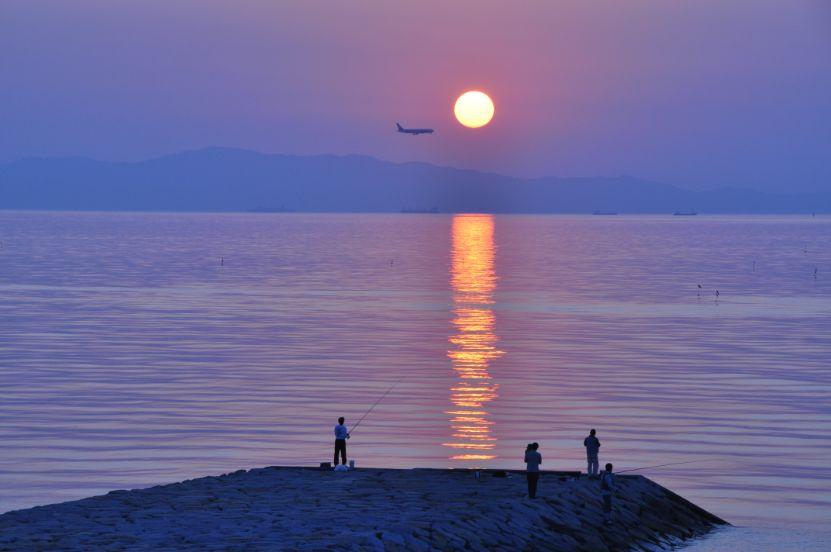 沈む夕日と着陸する飛行機