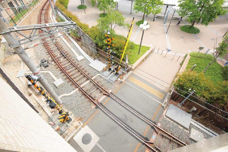 俯瞰でみた西宮北口駅の線路