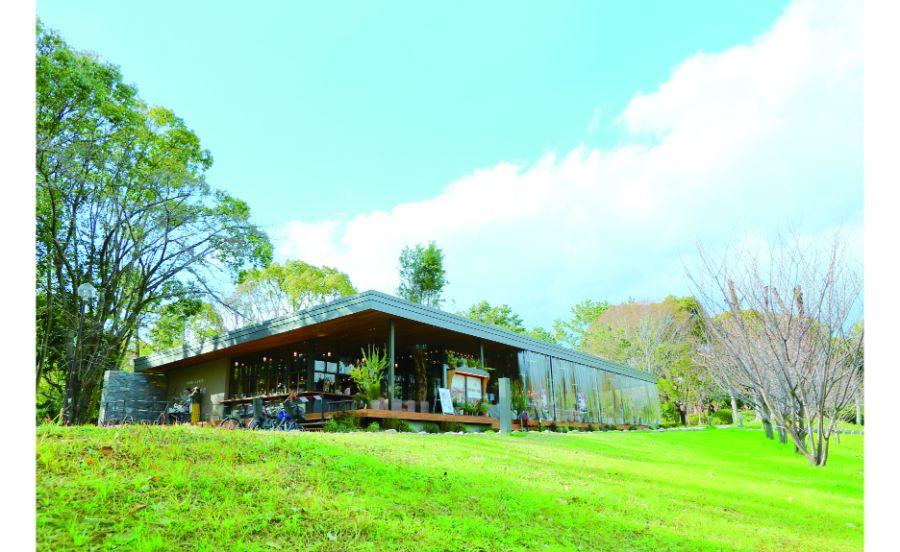 春には桜に囲まれる千里南公園内のカフェ