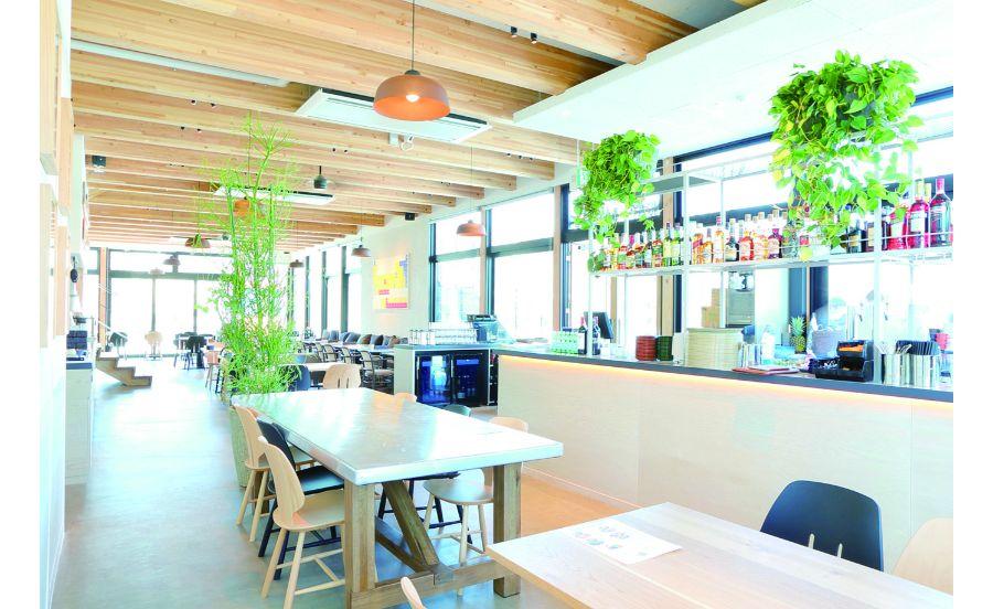 すっきりした空間の安満遺跡公園内のカフェ