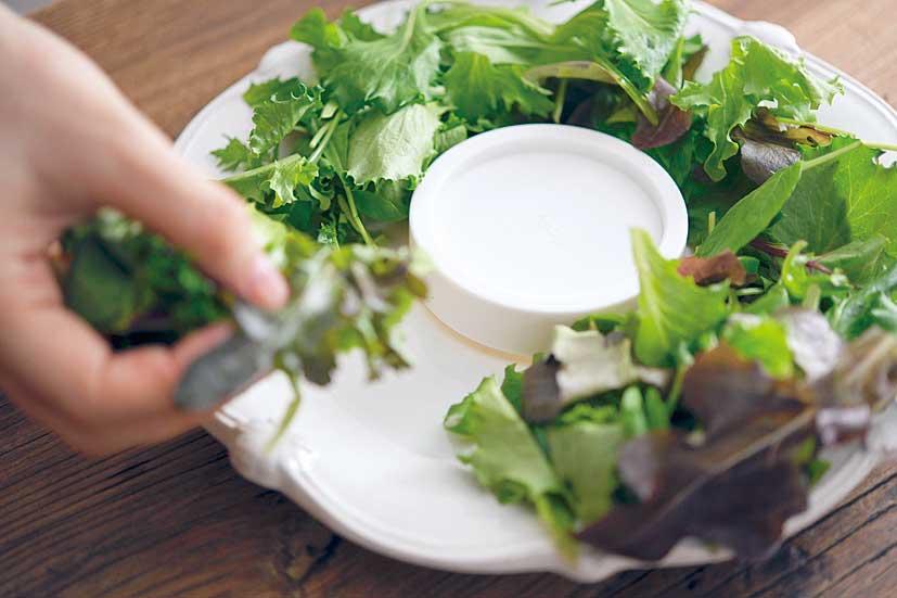 円円型にサラダを盛り付ける手元