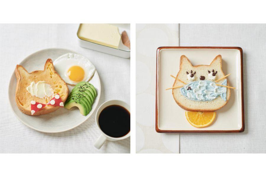 アレンジされた猫の形の食パン