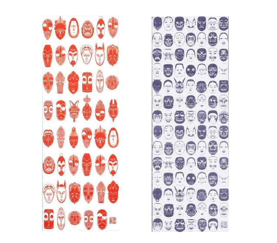 資料の仮面と壬生狂言の仮面をデザインした手ぬぐい