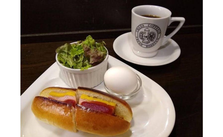 梅田コーヒー院のホットドックセット