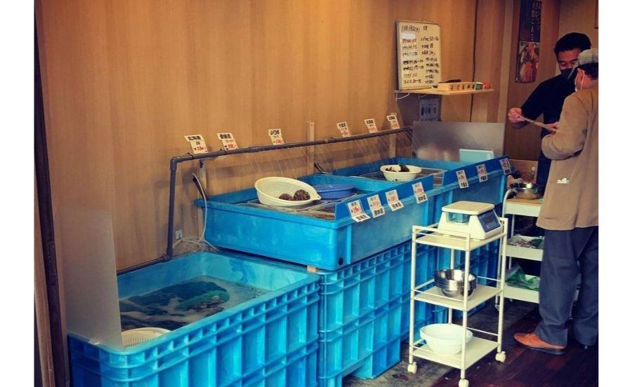 卸直売&BBQ 活貝センター 小林漁港の水槽